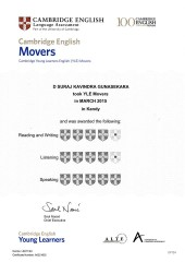 YLE  MOVERS EXAM Results (Unex English College)  (1)