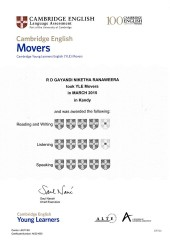 YLE  MOVERS EXAM Results (Unex English College)  (10)
