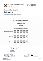 YLE  MOVERS EXAM Results (Unex English College)  (11)