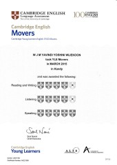 YLE  MOVERS EXAM Results (Unex English College)  (15)