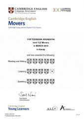 YLE  MOVERS EXAM Results (Unex English College)  (5)