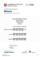 YLE  MOVERS EXAM Results (Unex English College)  (8)