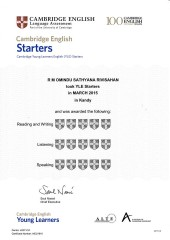 YLE  Starters EXAM Results (Unex English College)  (17)