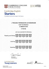 YLE  Starters EXAM Results (Unex English College)  (18)