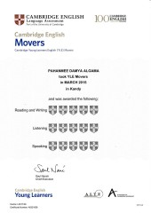 YLE  MOVERS EXAM Results (Unex English College)  (3)