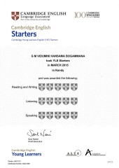 YLE  Starters EXAM Results (Unex English College)  (12)