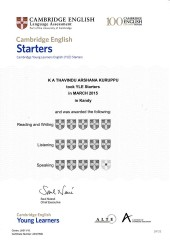 YLE  Starters EXAM Results (Unex English College)  (6)