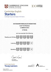 YLE  Starters EXAM Results (Unex English College)  (7)